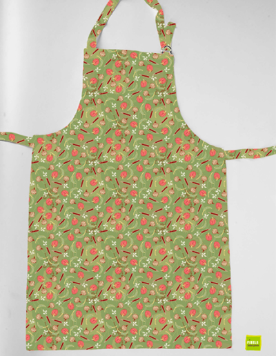 keukenschort met veggies groen patroon