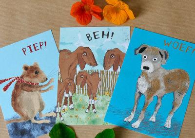 A6 kaarten muis, geit en hond