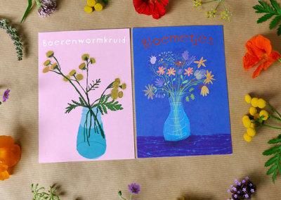 2 bloemenkaarten A6