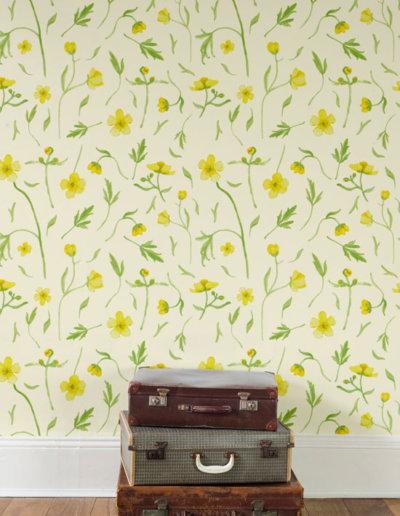 Behang met boterbloemen