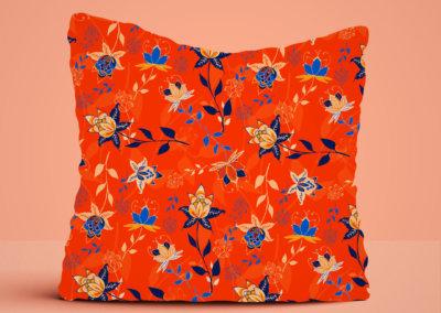 kussen met patroon Indian florals roest