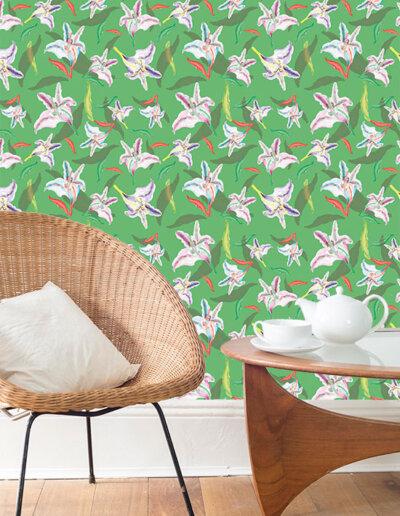 behang met patroon lelie groen