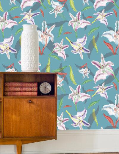 behang met patroon lelie blauw
