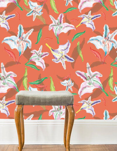 behang met patroon lelie oranje