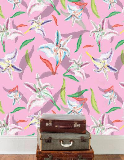 behang met patroon lelie rose