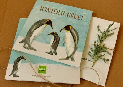 Wenskaart Winterse groet Pinguins