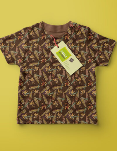 babyshirt met patroon varens en salamanders