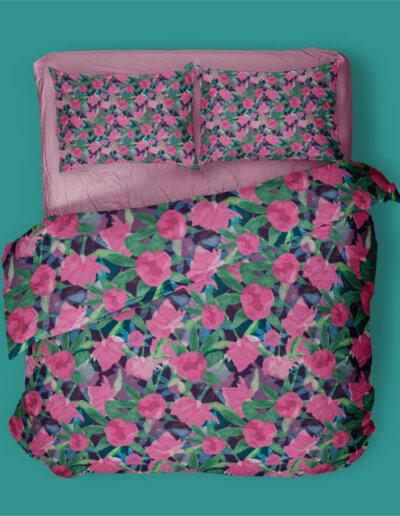 dekbedovertrek met patroon pioenrozen blauw roze