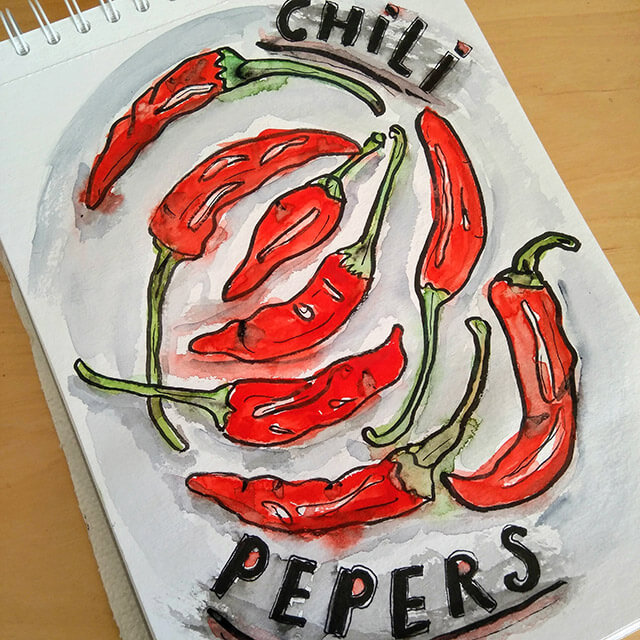 Chilipepers aquarelschets