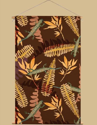 Textielposter met patroon varens en salamanders
