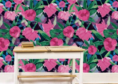 Behang van patroon Pioenrozen in roze en blauw