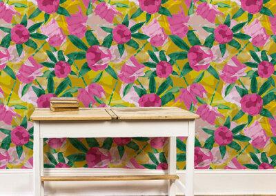 Behang van patroon Pioenrozen in roze en geel