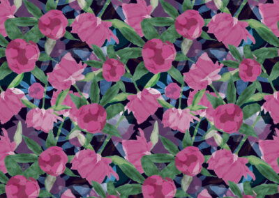 patroon met pioenrozen blauw roze