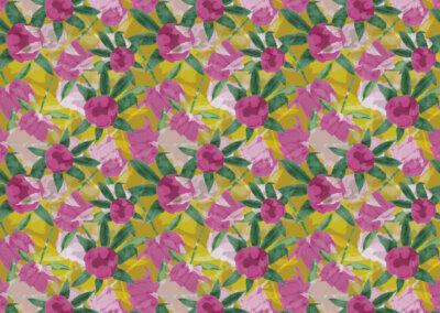 patroon met pioenrozen geel roze