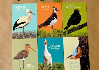A6 kaarten Retro Vogels